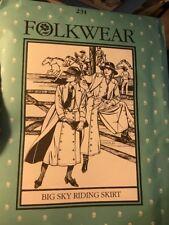 Folkwear Sewing Pattern - Big Sky Riding Split Skirt  # 231 UC SZ 8/18 culotte