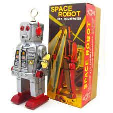 Silver Tin Space Ring Robot Silver Yoshiya Sparky Vintage Windup Replica