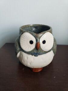 Vintage Kotobuki Japanese Ceramic Blue Owl 12oz Mug Made In Japan Lucky Owl