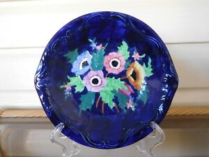 Maling Floral Motif Cobalt Blue Bowl Newcastle-On-Tyne England 1930s