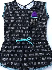 DREAMWORKS GIRLS TROLLS ROMPER PAJAMAS STRETCH BLACK Large 12-14