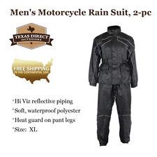 XL Motorcycle Riding Rain Suit Gear for Men, 2-Piece Black Waterproof