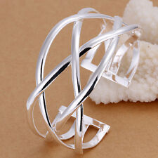 925 Sterling Silver Big CROSS Generous Men Women Jewelry Cuff Bracelet FB113