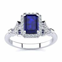 14 K Gold 1 1/4Ct Emerald Cut Sapphire- Halo Diamond Vintage Ring in 3 Colors