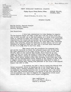 1941 Detroit Tigers Letter signed Claude Davidson Philadelphia A's Senators