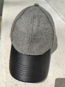 Gray Wool Baseball Cap black Leather Strap new