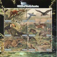 Guyana 2019 MNH Wildlife of South America Toucan 6v M/S II Monkeys Birds Stamps