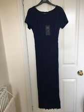 M&S Casual and Crinkle Maxi Dress, SZ 20, Navy, BNWT, Was £45