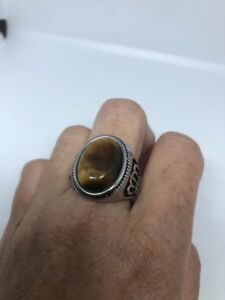 Vintage Silver Stainless Steel Genuine Tiger's Eye 8 Men's Crown Ring