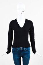 Lucien Pellat-Finet Black Cashmere V Neck Long Sleeve Sweater Top SZ M
