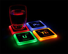 RADIOACTIVE ELEMENT LIGHT UP 4 COASTER SET SCIENCE CHEMISTRY TEACHER STUDENT NEW