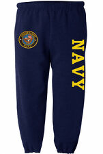 US Navy sweatpants Men's size navy blue yellow sweat pants sweats track suit USN