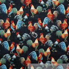 BonEful Fabric Cotton Quilt Red Rooster Blue Green Feather Farm Chicken US SCRAP