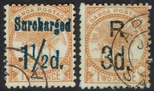 SAMOA 1895 PALM TREE SURCHARGED 1½D AND R 3D USED PERF 12 X 11½