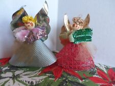 2 Vintage Singing Angels Christmas Angels Chenille Paper Craft