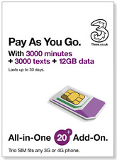 Three Pay As You Go All-in-One £20 SIM, 3000Mins, 3000Texts, 12GB Data