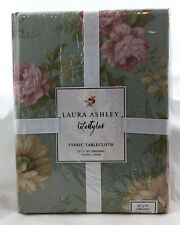 New listing New Laura Ashley Floral Chic 52 X 70� Oblong Fabric Tablecloth Roses Blue Green
