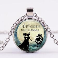 Peter Pan photo Pendant,Glass Dome black Chain Necklace wholesale Silver