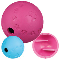 Trixie 6, 7, 11cm Rubber Snack Treat Ball Dispensing Dog Puppy Toy Rolls Bounces
