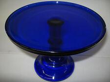 Cobalt Blue Glass cake serving stand plate platter pedestal raised tray wedding