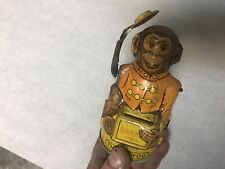 VINTAGE J CHEIN & CO CIRCUS MONKEY TIPPING HAT TIN LITHO TOY COIN BANK