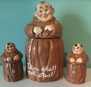 Vintage Twin Winton '60 Monk Friar Tuck Cookie Jar & Salt and Pepper Shakers