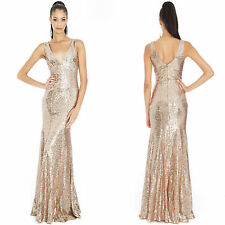 Ladies Long Sequin Evening Maxi Dress Ball Gown Prom Party Womens UK Sizes 8-14