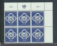 United Nations  Geneva 14 1970 10FR Imprint block of 6 NH