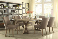 NEW Modern Brown Dining Room Set 7 pieces Rectangular Table & Fabric Chairs IC5W