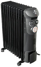 ELECTRIC OIL FILLED RADIATOR HEATER THERMOSTAT + TIMER BLACK 2.5KW PORTABLE