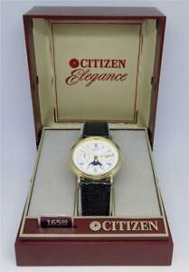 Vintage Citizen Elegance 6350-G30241 K Triple Calendar Moon Phase Watch & Case
