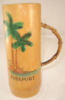 Vintage Freeport Bahamas Bamboo Wood Tiki Mug Painted Palm Tree Bent Wood Handle