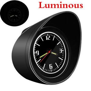 Car Interior Dashboard Clock Pointer Time Gauge Luminous Black Shell Luminous x1