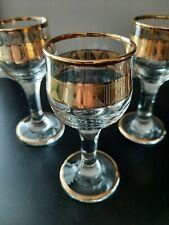 VINTAGE BEAUTIFUL GOLD RIMMED CORDIAL GLASSES - SET OF 3