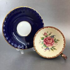 Antique Aynsley c1934 Floral Cobalt Blue Teacup Bone China England Tea Cup