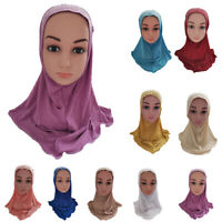 Children Girls Muslim Head Hijab Scarf Hats Islamic Wrap Cover Shawls Caps Arab
