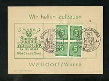 KONTROLLRAT Nr.915 (4) SONDERKARTE SST WALLDORF WERRA 2.1.1946 !! (955562)