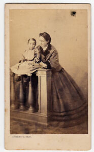 Florence Portrait of a loving mother and her daughter CDV 1860 Bernoud  Vi66