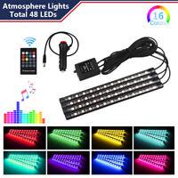 4x 48 LED Car Strip IR Remote Control Cigarette Lighter Atmosphere Neon Light US