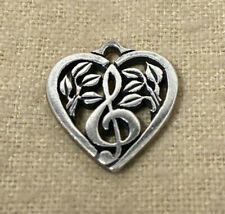 Retired James Avery Music Note Treble Clef Heart Charm Sterling Silver