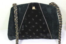 Vintage LANVIN Black Velvet Flat Shoulder Bag Clutch Bag France