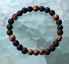 8mm Black Basalt Lava Stone Chakra Copper Wrist Mala Beads Bracelet - Grounding