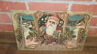 Old Fashioned Santa Claus Merry Christmas Postcard Like Metal Sign