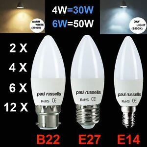Paulrussells LED Candle Bulb 4w 6w E27/B22/E14 Warm White Day Light 30/50W Cheap