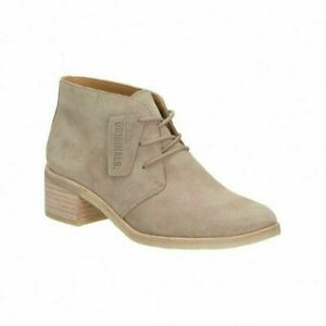 Womens Clarks Phenia Carnaby Sand Suede Nude Beige Lace Up Ankle Boots Booties