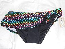 NEW Arizona Black w/ Polka dots summer splash Large Swim Bikini Bottoms Skirt!!!