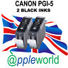 2 Canon PGI-5 BLACK Compatible Ink Cartridges [chipped]