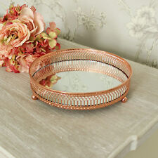 Copper mirrored plate candle ornaments shabby vintage chic wedding table centre
