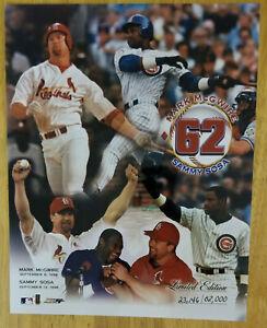 "Mark McGwire Samy Sosa 8"" x 10"" Photo File 62 Home Runs Limmited Edition 1998 LE"