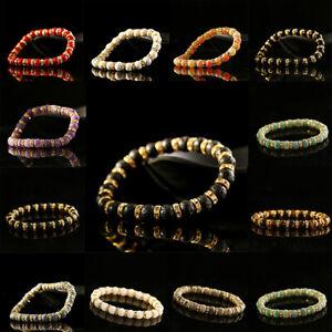 Natural Stone Lava Elastic Crystal Rondelle Beads Yoga Bangle Men Women Bracelet